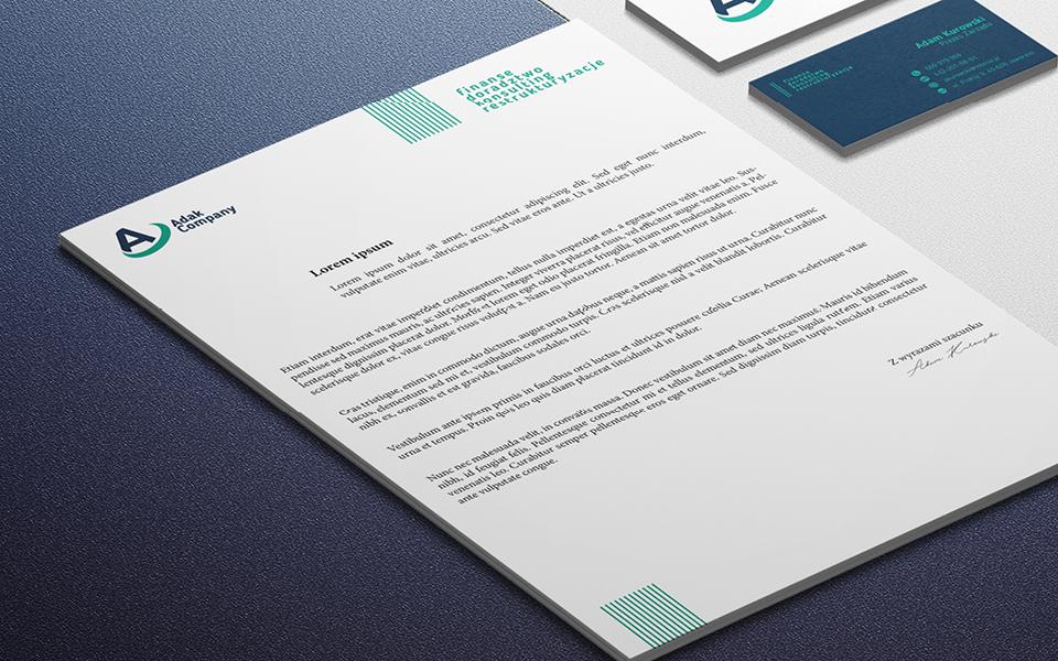 projekt papieru firmowego sklepu z zakresu inwestycji