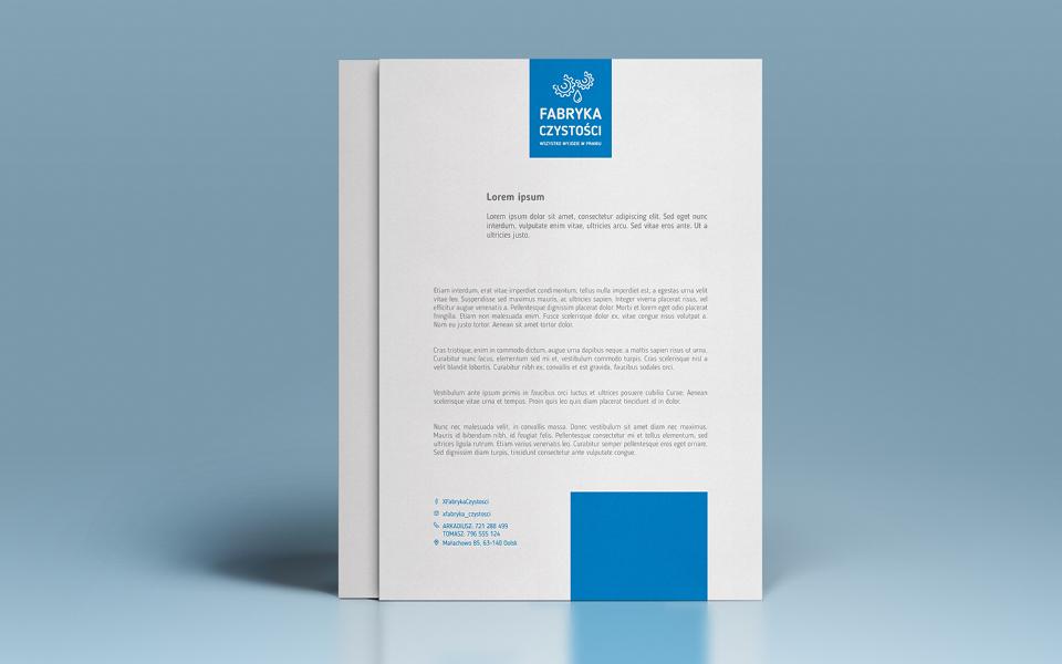 projekt papieru firmowego usługi sprzatania